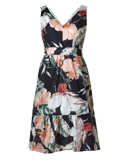 Palm Printed Fit & Flare Dress, Navy/Pink, hi-res