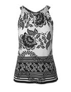 Black Patterned Halter Top, Balck/White, hi-res