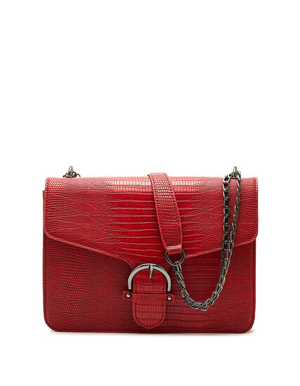 Red Croco Handbag, Red, hi-res