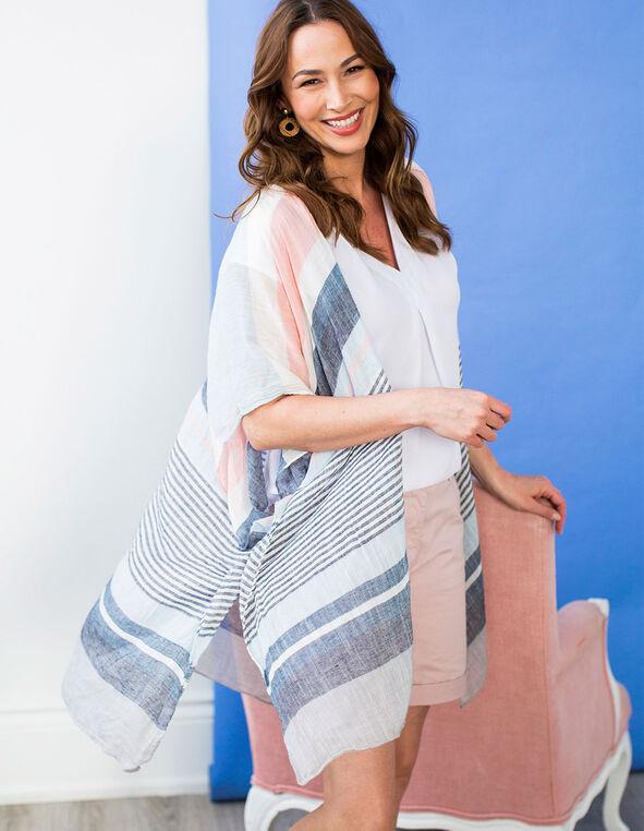 Pink & Blue Striped Kimono, Pink/Blue, hi-res