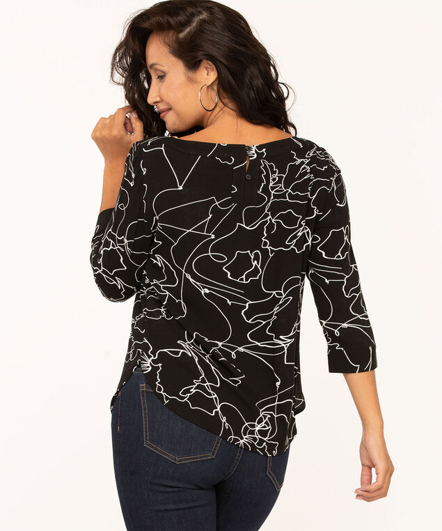 Black Floral Scoop Neck Blouse, Black, hi-res