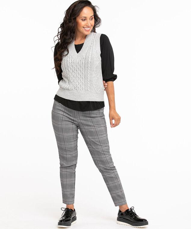 Recycled V-Neck Sweater Vest, Light Grey Mix