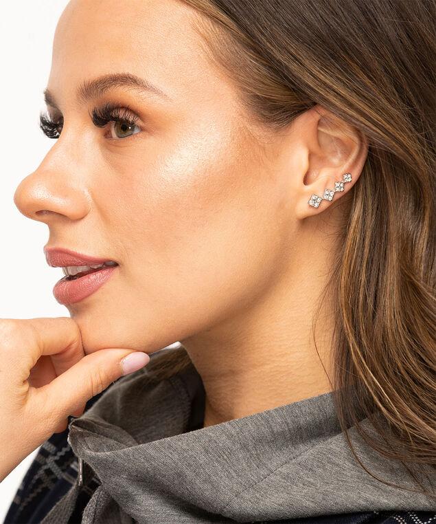 Geo Crystal Drop Earring, Silver