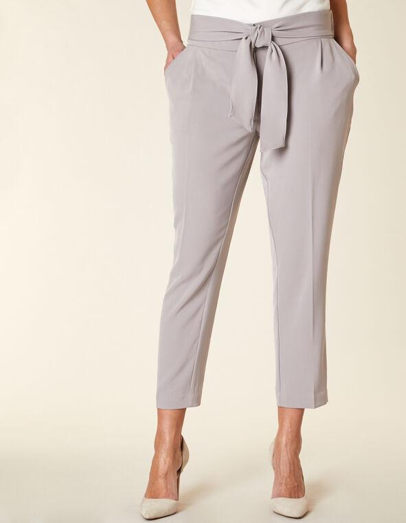 Light Grey Belted Ankle Pant, Grey, hi-res