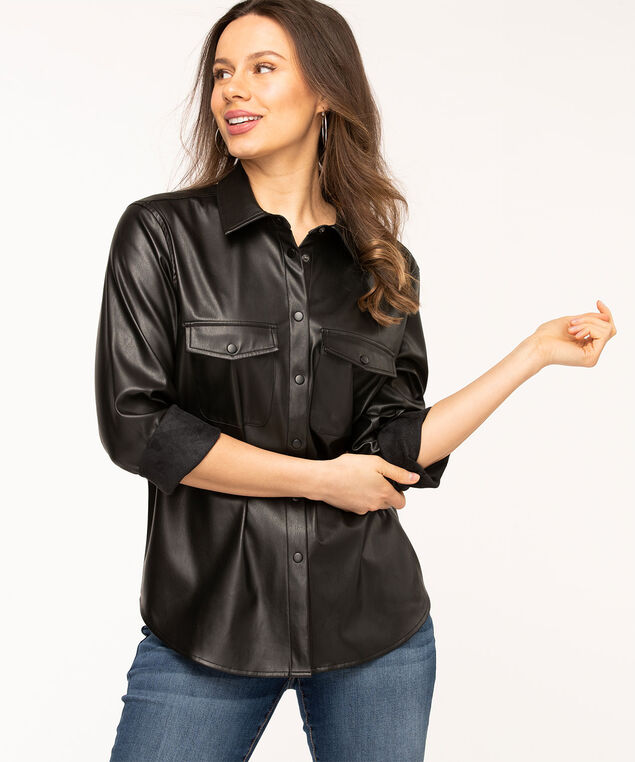 Vegan Leather Shirt Jacket, Black