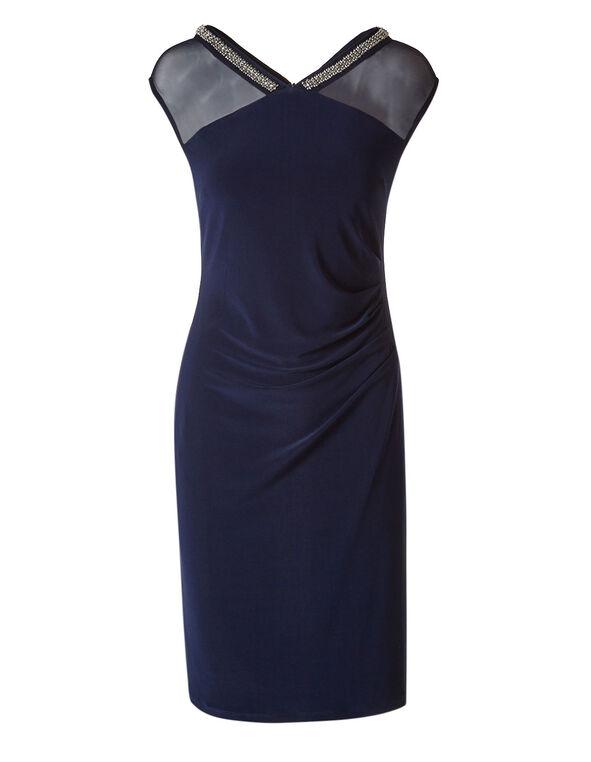 Navy Sequin Neckline Dress, Navy, hi-res