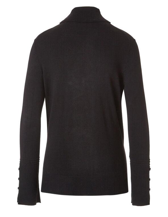 Black Striped Turtleneck Sweater, Black, hi-res