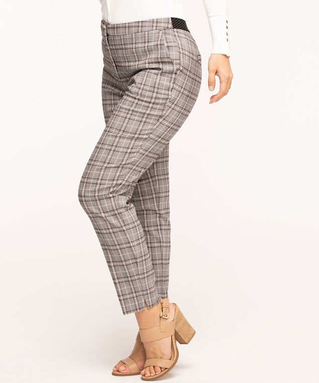 Plaid Slim Leg Ankle Pant, Black/Pink Plaid