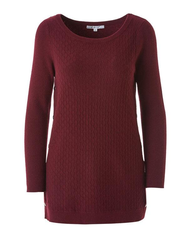 Merlot Embossed Knit Sweater, Merlot, hi-res