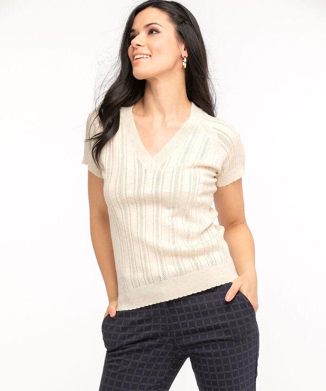Pointelle Knit Short Sleeve Sweater, Ivory Mix
