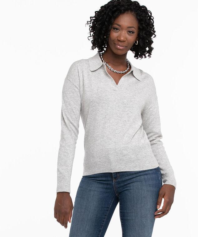 Long Sleeve Polo Collar Sweater, Light Grey Mix