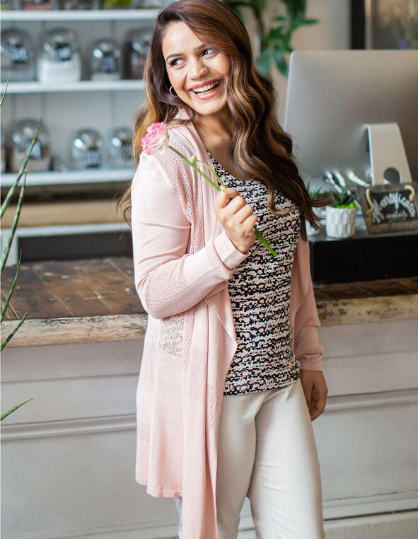 Pink Open Front Waterfall Cardigan, Pink, hi-res