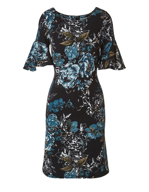 Teal Floral Printed Dress, Black/Teal, hi-res