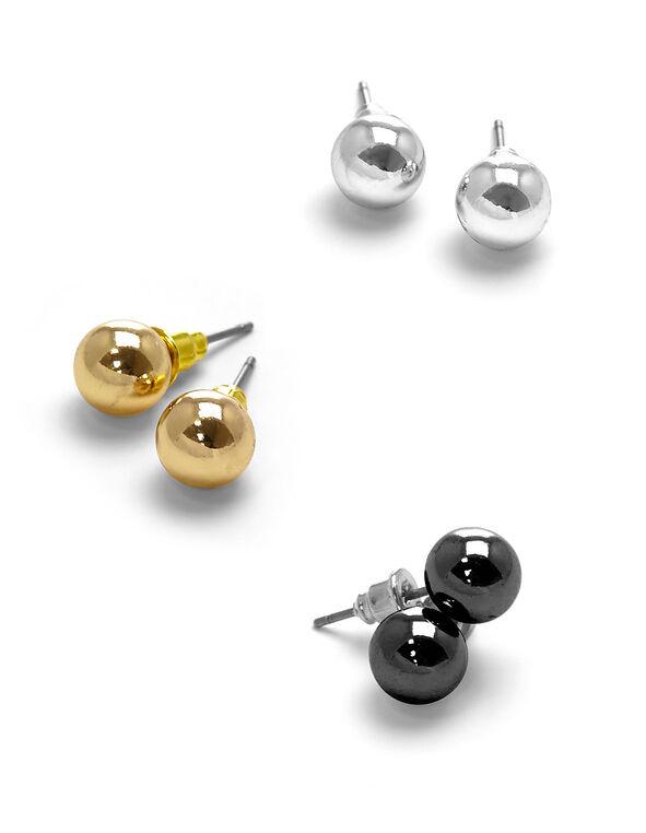 Tri Metal Pearl Stud Earring Set, Gold/Silver/Hematite, hi-res