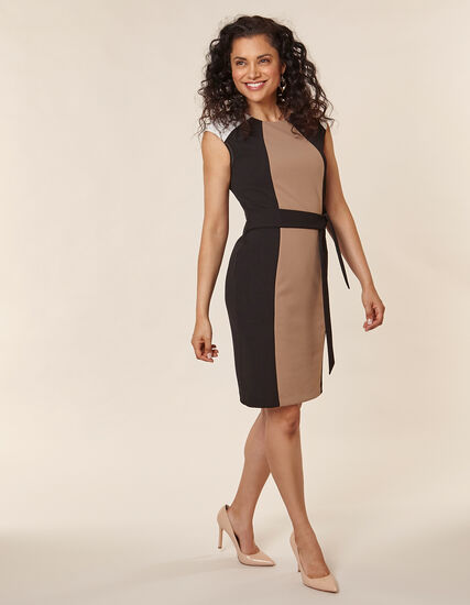 Neutral Crepe Sheath Dress, Black/Neutral, hi-res