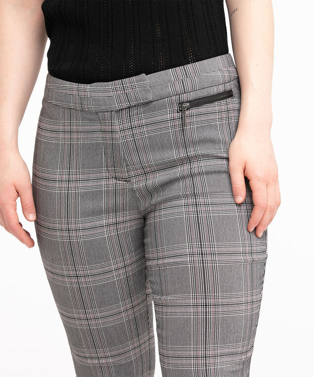Low Impact Curvy Microtwill Ankle Pant, Purple Plaid