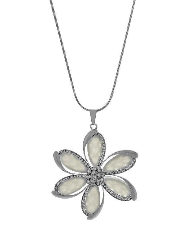 Long White Cat Eye Flower Necklace, White, hi-res