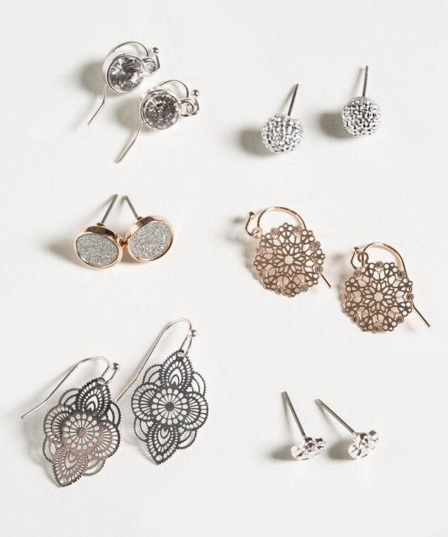 Crystal & Filigree Leaf Earring Set, Silver/Rose Gold, hi-res
