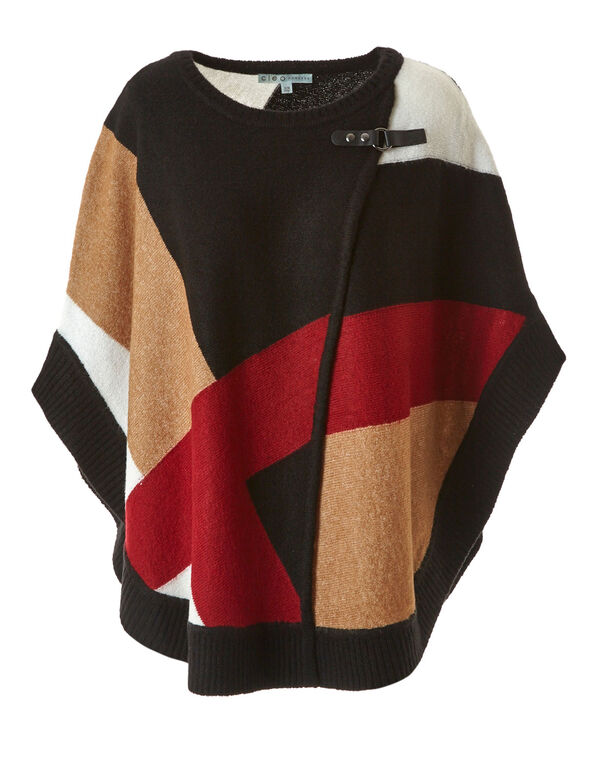 Black Colour Block Pullover Poncho, Black, hi-res
