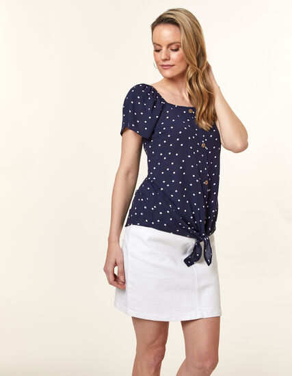Navy Dotted Tie Blouse, Navy, hi-res