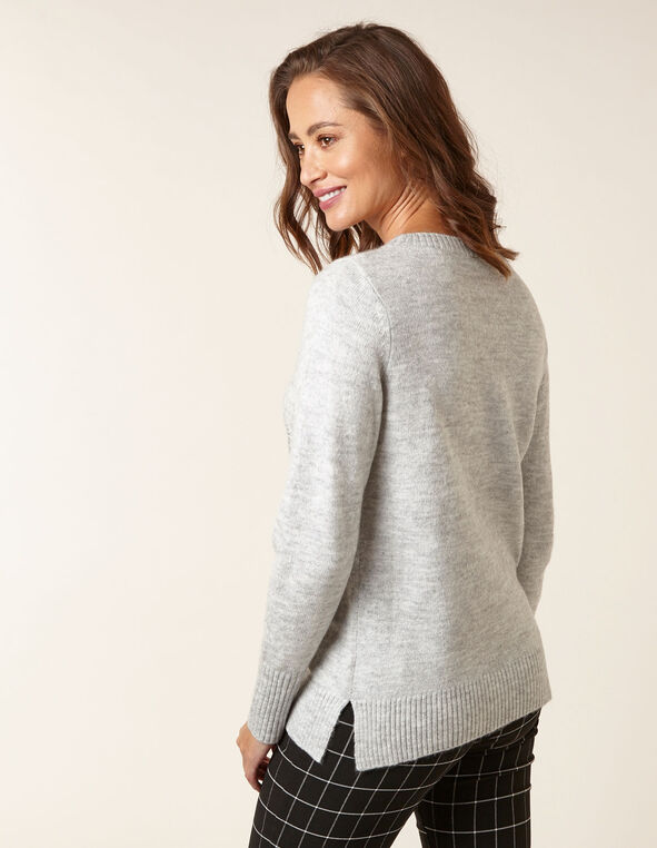 Grey Snowflake Sweater, Grey, hi-res