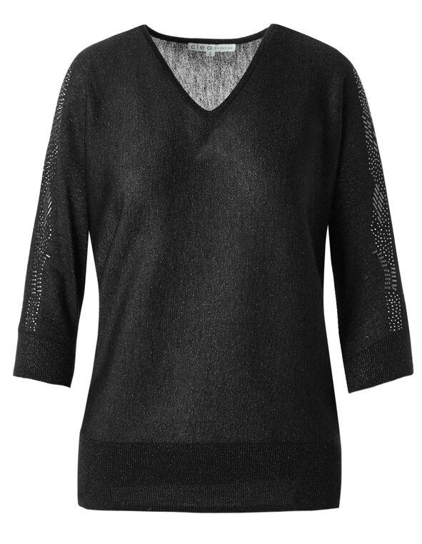 Black Open Shoulder Stud Sweater, Black, hi-res