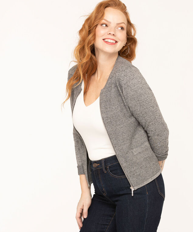 Speckled Grey Zipper Cardigan, Grey Mix, hi-res