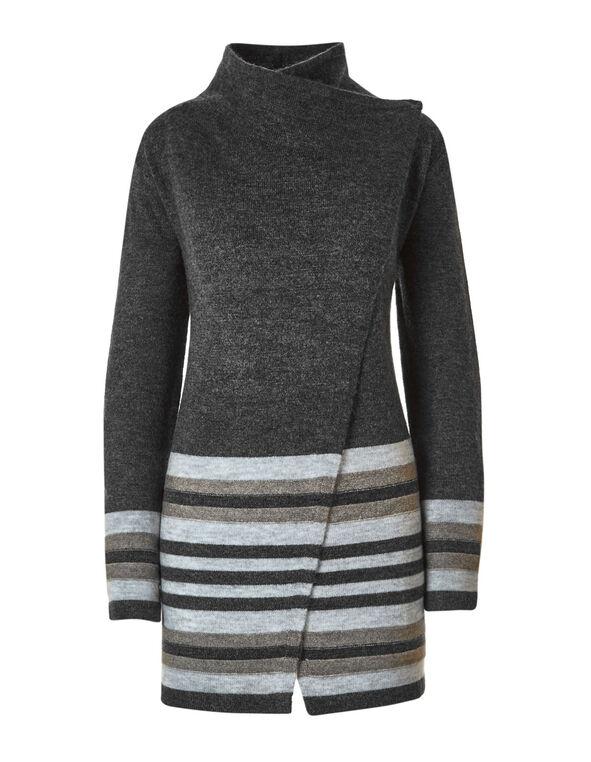 Mock Neck Open Coatigan Sweater, Grey, hi-res
