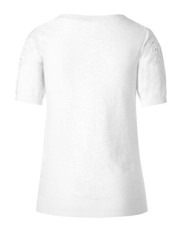 White Slub Cotton Pullover, White, hi-res