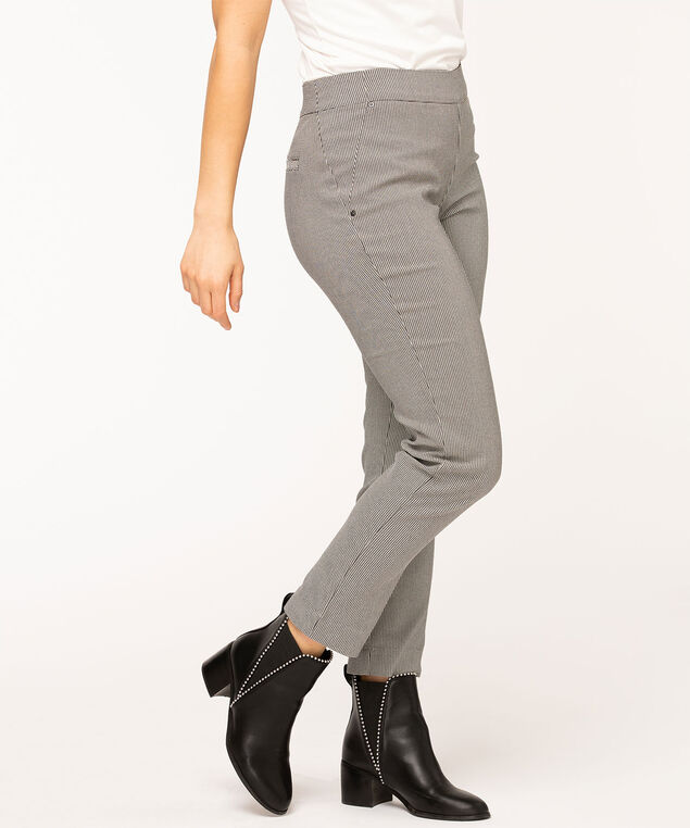 Mini Houndstooth Slim Leg Pant, Black/Ivory