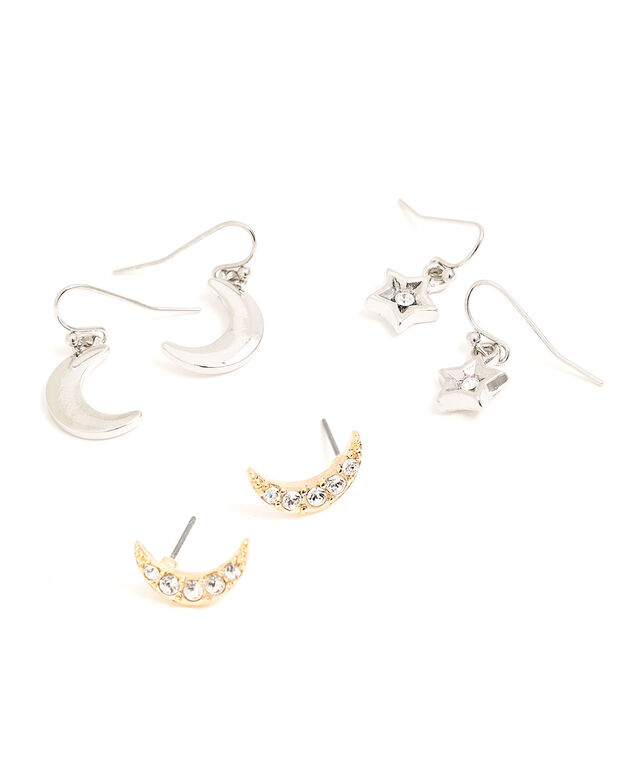 Star & Moon Earring 3-Pack, Silver/Gold