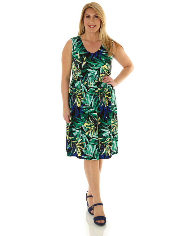 Tropical Print Fit & Flare Dress, Green, hi-res