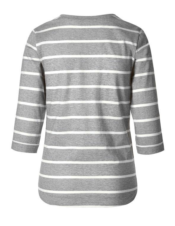 Grey Striped 3/4 Cotton Tee, Grey/Ivory, hi-res