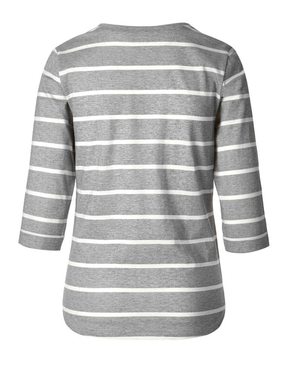 Grey Striped 3/4 Cotton Tee, Grey/Ivory, hi-res
