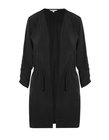 Black Ruched Sleeve Draped Blazer, Black, hi-res