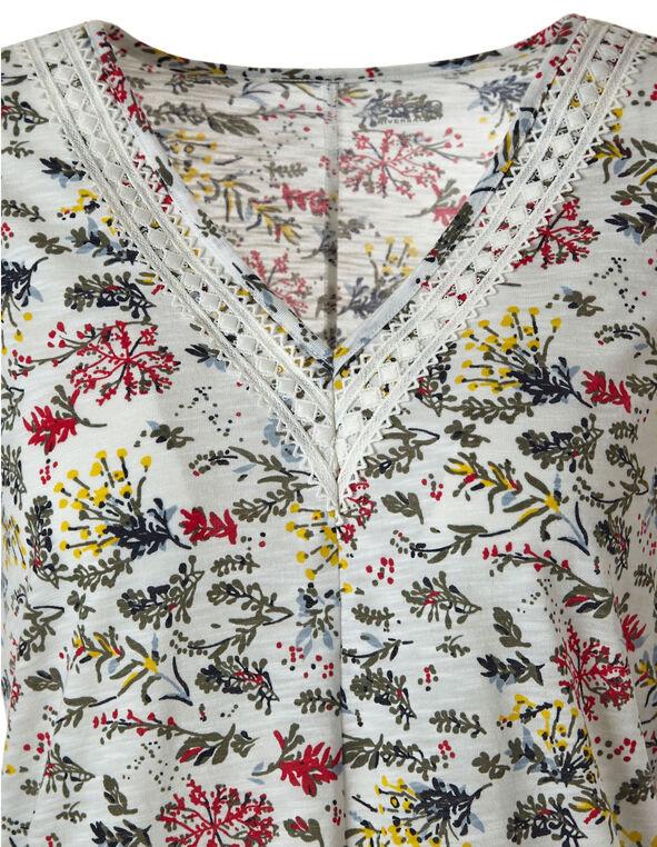 Floral Print Slub Tee, Floral, hi-res