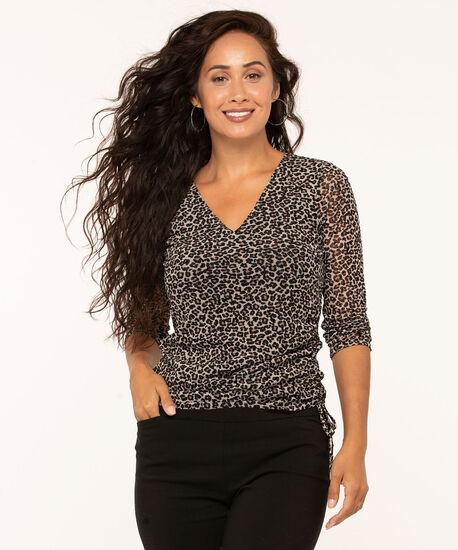 Leopard Print Side Ruched Top, Md Brown, hi-res