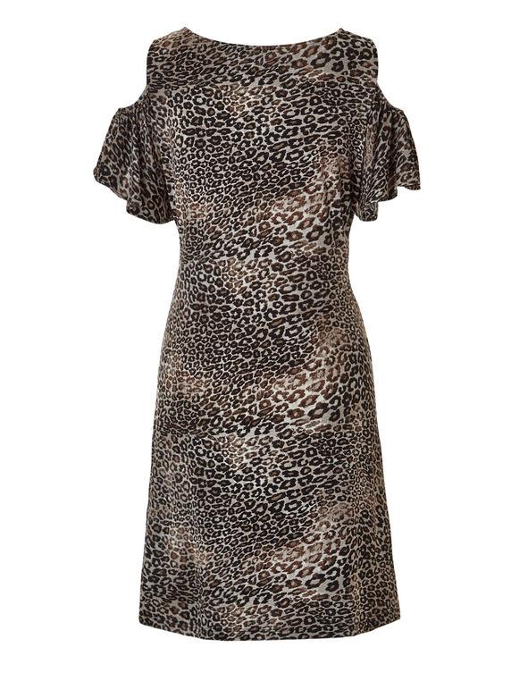 Animal Print Cold Shoulder Dress, Brown/Black/Nude, hi-res