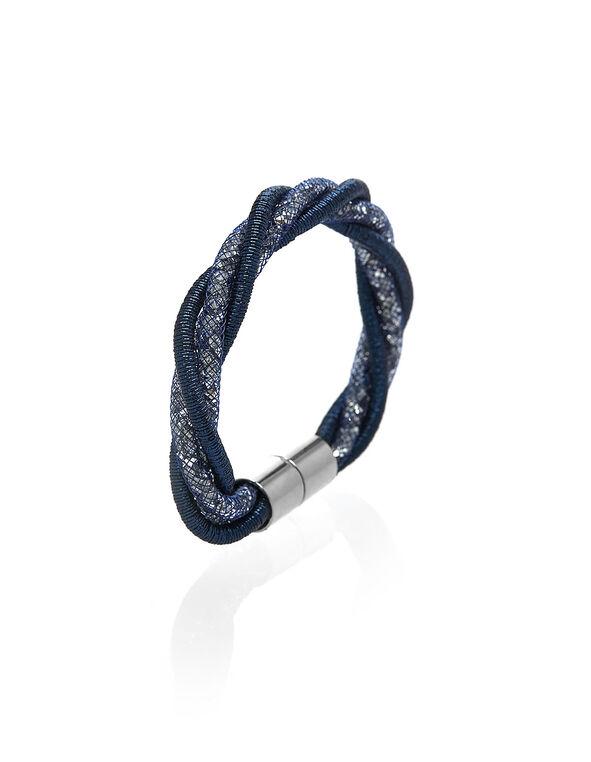 Blue Shimmer Twist Magnetic Bracelet, Blue, hi-res