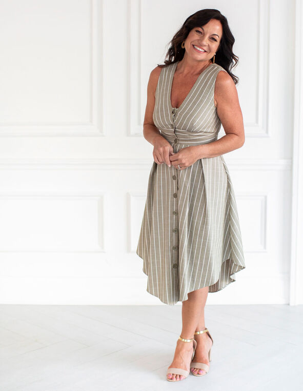Olive Striped Shirt Dress, Olive, hi-res