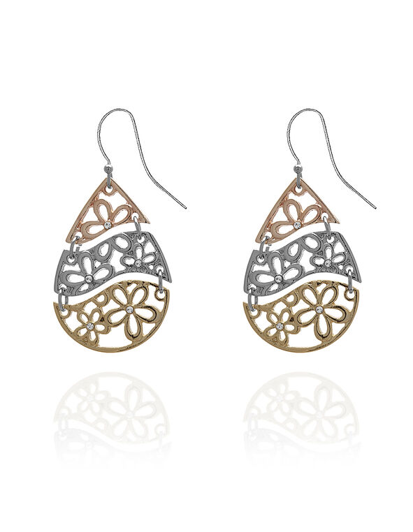 Metal Laser Cut Flower Earring, Rose Gold/Silver/Gold, hi-res