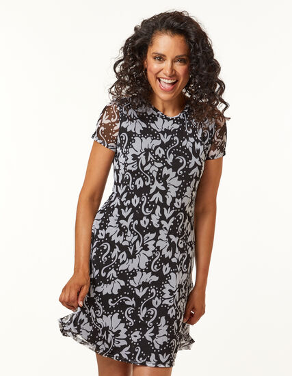 Black & White Print Tee Dress, Black, hi-res