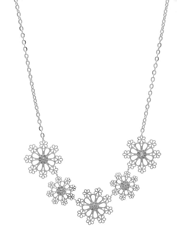 Silver Snowflake Short Necklace, Silver, hi-res