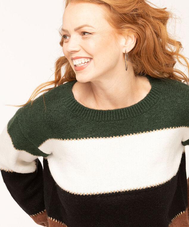 Colour Block Striped Sweater, Dark Green/Ivory/Brown/Black, hi-res