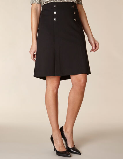 Black Button A-Line Skirt, Black, hi-res