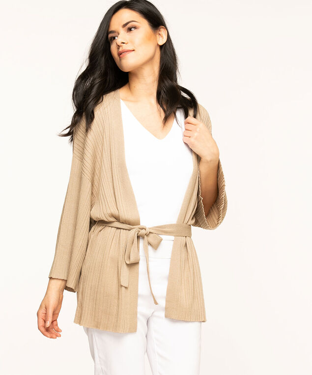 Open Front Belted Cardigan, Stone Shimmer