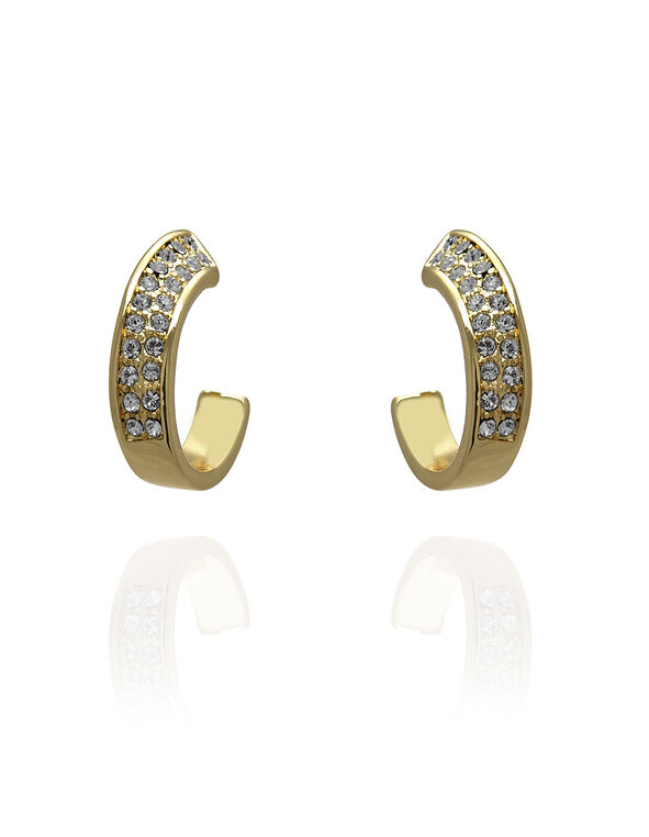 Gold Genuine Crystal Swoop Earring, Gold, hi-res