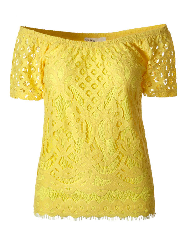 Yellow Lace Overlay Top, Yellow, hi-res