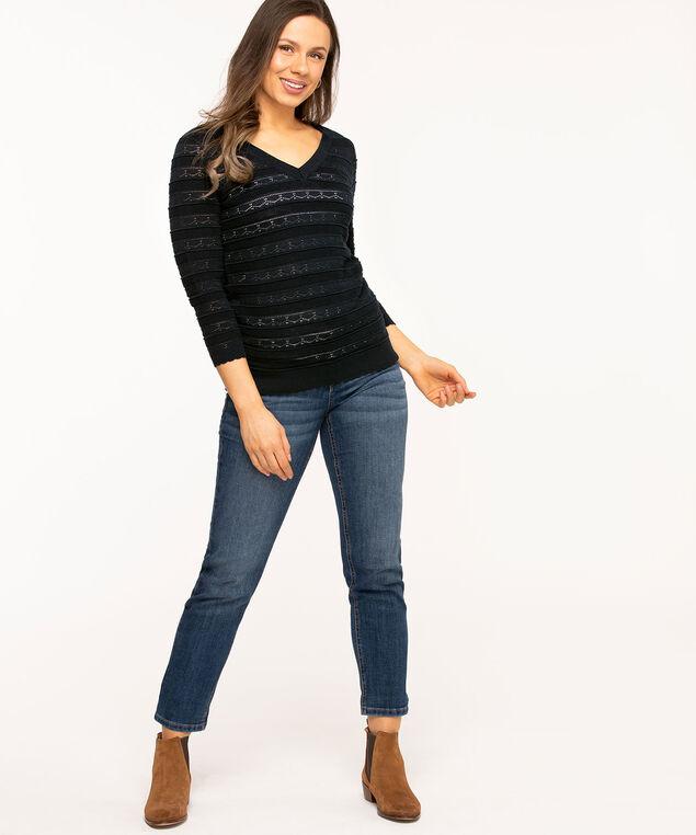 Pointelle V-Neck Sweater, Navy