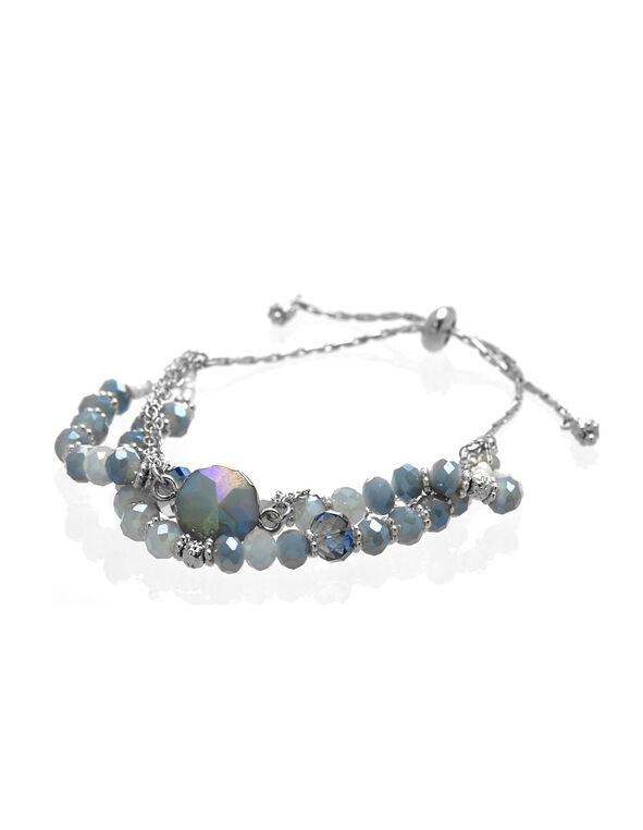 Blue Beaded Adjustable Bracelet, Blue, hi-res